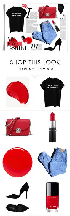 """My fave T-shirt"" by riitciii ❤ liked on Polyvore featuring Burberry, MAC Cosmetics, Tom Ford, Levi's, PrimaDonna, Chanel and MyFaveTshirt"