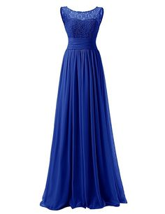 Dresstells® Long Prom Dress Scoop Bridesmaid Dress Lace Chiffon Evening Gown: Amazon.co.uk: Clothing