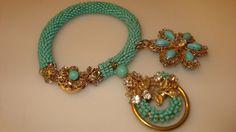 RARE Fabulous Turquoise Glass Miriam Haskell Signed Charm Bracelet | eBay