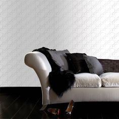 Enigma White Wallpaper by Kelly Hoppen - Designer Geometric Wall Coverings by Graham  Brown