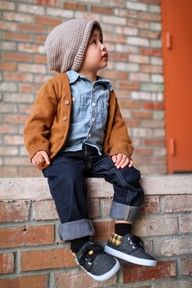 adorable toddler boy fall outfit...slouchy hat, button down with cardigan, cuffed jeans and sneakers