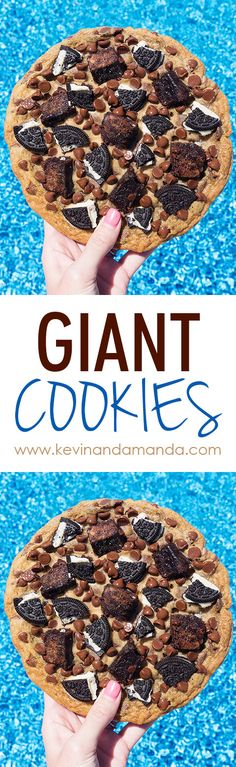 The Ultimate Giant Cookie is soft, chewy, & customizeable with all your favorite toppings! This recipe makes huge cookies - you'll have dessert for days Giant Cookie Recipes, Giant Cookies, Cookie Desserts, Yummy Cookies, Just Desserts, Delicious Desserts, Dessert Recipes, Yummy Food, Cookie Cakes