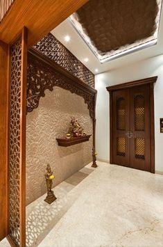 Pooja Room Door Design, Foyer Design, Home Room Design, Home Interior Design, Temple Design For Home, Indian Home Design, Indian Home Decor, Indian Main Door Designs, Room Partition Designs