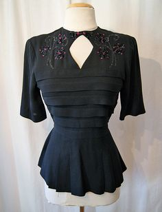 Beautiful 1940s crepe blouse with sequins film noir by wearitagain, $175.00