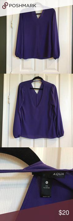 "Aqua blouse Aqua purple blouse. Mid ""V"" back. Worn one time. Excellent condition. Aqua Tops Blouses"