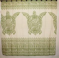 Hawaiian Fabric Shower Curtain Green Sea Turtle