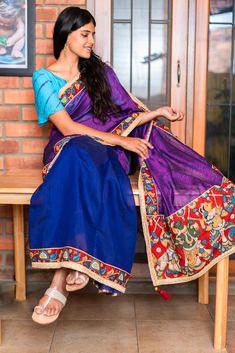d22dc860e5f9a1 Purple-pink jute cotton and royal blue spun silk half and half saree with handpainted  kalamkari border