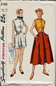 1950's Shorts Set Pattern SIMPLICITY 3160 by ShellMakeYouFlip