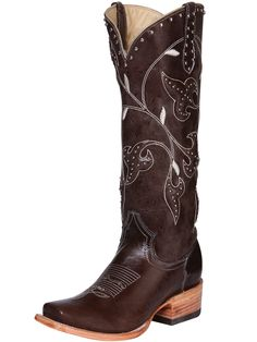 Premier Boots Ladies Brown Leaf Square Toe Boot at Cowgirl Blondie's Western Boutique