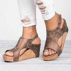 78c8f3cc0dc Peep Toe PU Blocking Hook-Loop Wedge Sandals Shoes Heels Wedges