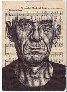 Mark Powell, Speaking in Tongues (Prattle). Bic biro drawing on music sheet, © Mark Powell Arte Gcse, Mark Powell, Biro Drawing, Biro Art, Painting & Drawing, A Level Art Sketchbook, Meet The Artist, Detail Art, Pen Art