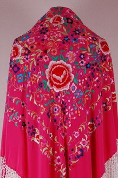 Silk and Hand Embroidery Spanish Flamenco Manton Shawl