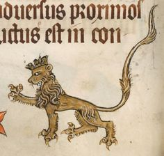 eadfrith: The Luttrell Psalter - folio 29v A Majestic looking Lion with a Crown and sharp  claws.   Manuscript made in Lincolnshire, England, between 1320-1340 for Sir Geoffrey Luttrell. British Library, Add. MS 42130; Images from the British Library manuscript pages. http://www.bl.uk/manuscripts/FullDisplay.aspx?ref=Add_MS_42130