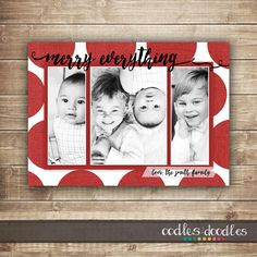 Christmas Card with three photos | bright & bold polka dots | merry everything!  by Oodles and Doodles, OandD
