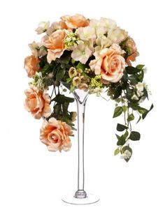 Elegant Tall Flower Arrangements | ... in Tall Martini Glass Vase - Artificial Floral Displays & Arrangements