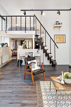 Check Out 25 Impressive Loft Bedroom Design Ideas. A loft bedroom can be built in a small studio apartment as well as in a spacious industrial building. Deco Studio, Loft Studio, Home Interior, Interior Architecture, Apartment Interior, Apartment Design, Interior Ideas, Simple Interior, Scandinavian Interior