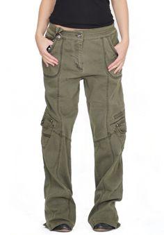 Womens Army Green Baggy Loose Cargo Pants Wide Boyfriend Combat Trousers Jeans   eBay