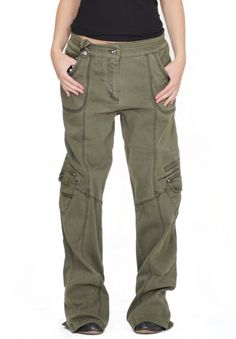 Womens Army Green Baggy Loose Cargo Pants Wide Boyfriend Combat Trousers Jeans | eBay