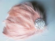 Antique French Pink Feather and Crystal Fascinator-Hair Clip  by ThePrancingFox