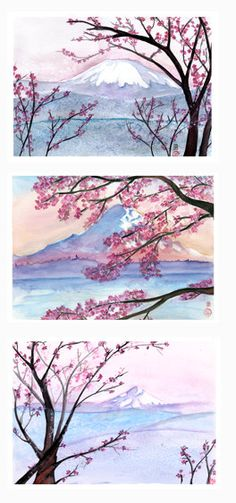 Cherry blossom landscape...great idea--water color paintings