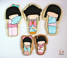 japanese kokeshi dolls decorated cookies