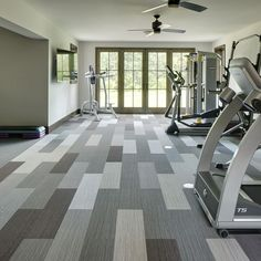When you require tough and resilient flooring for your home gym, look no further than our New Mark Carpet Tiles! Comfortable and hard wearing, they are sure to stand the test of time. - Recreate this look with our 'Track 25' collection.   #homegym #homegymlife #homegymsetup #carpettiles #sweatathome