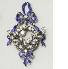 Early Century Diamond, Enamel and Pearl Pendant, circa 1900 Bow Jewelry, Enamel Jewelry, High Jewelry, Jewelry Art, Jewelry Accessories, Jewelry Design, Edwardian Jewelry, Antique Jewelry, Vintage Jewelry