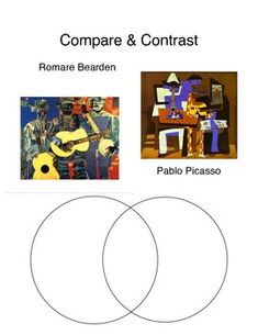 Students will compare two pieces of artwork by Pablo Picasso and Romare Bearden using a Venn Diagram. Middle School Art, Art School, High School, Pablo Picasso, Art Analysis, Classe D'art, Art Critique, Art Handouts, Art Criticism
