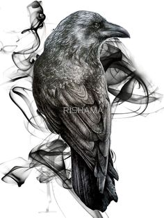 « crow gothic bird raven realism drawing sketch tattoo » par RISHAMA