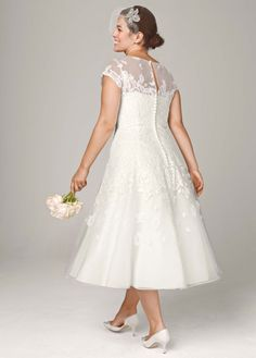 Cap Sleeve Wedding Dress with Illusion Neckline - David's Bridal
