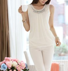 Women's Beaded Collar Sleeveless Chiffon Top Women's Beaded Collar Sleeveless Chiffon Top White Chiffon, Chiffon Tops, Casual Outfits, Cute Outfits, Fashion Outfits, Modelos Fashion, Dress Patterns, How To Wear, Clothes