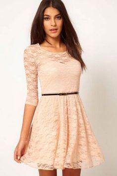 Women's Fashion Lace Half Sleeve Casual Dress