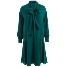 WtR  - Sapphire Silk Bow Dress Emerald Green ($580) ❤ liked on Polyvore featuring dresses, blue knee length dress, flare dress, long dresses, blue dress and flared dresses