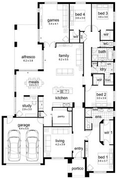 Hello, welcome back to another floor plan! This time I have a generous 4 bedroom home to show you. There is lots of love about this home. The storage is great with a perfect walk-in-robe in the master, a huge pantry and a walk-in-linen in the laundry. Walk In Robe, Game Room Decor, Laundry, Floor Plans, Flooring, Bedroom, Storage, Media Center, Home Theater