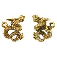Dragon Serpent Chinese Asian Gold Golden Charm - Charms & Embellishments | Hanko Designs