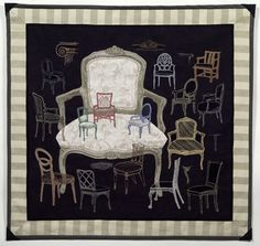 """Sitting Still Life"" by B.J. Adams. Free motion machine embroidery on upholstered fabrics."