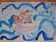 * Golven schilderen met kwast of vingers! Daarna de boor in de golven laten varen!