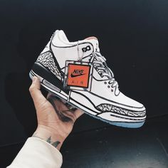 26138edcfd0ba0 Nike Air Jordan III White Cement Custom by Joshua Vides