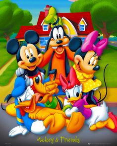 Mickey Minnie Goofy Daisy Donald and Pluto