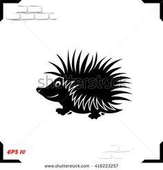 Hedgehog icon. Simple black vector symbol. Logo for web. Image for business.
