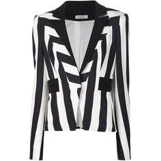 Mugler striped blazer ($2,925) ❤ liked on Polyvore featuring outerwear, jackets, blazers, blazer, black, thierry mugler, long sleeve jacket, long sleeve blazer, striped blazer and stripe jacket