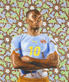 """Fútbol: The Beautiful Game exhibition at LACMA. This work by Kehinde Wiley, """"Samuel Eto'o,"""" 2010. Oil on Canvas."""