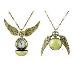 Neu Anhänger-Halskette Steampunk Flügel Harry Potter Quidditch Snitch Taschenuhr