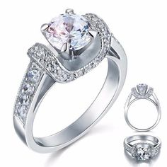 Peacock Star 1.25 Carat Created Diamond Solid 925 Sterling Silver Wedding Promise Engagement Ring