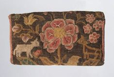 New England , 1725-75 wool embroidery on linen with wool lining and wool twill tape binding.  12x19x3