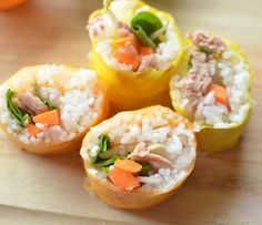 A Pair of Red Clogs/Grandfather's Journey - Kid friendly 'sushi': tuna wraps with rice