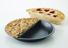 Split Decision pie-pan for baking two different half-pies in one go! Bonus: swap…