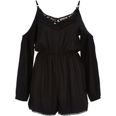 New Look Black Crochet Trim Cold Shoulder Playsuit ($36) ❤ liked on Polyvore featuring jumpsuits, rompers, black, summer romper, playsuit romper and summer rompers