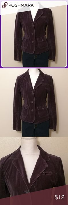 🍇 American Eagle Purple Velvet-like Jacket American Eagle Outfitters purple blazer - velour/velvet like material - stylish, flattering, well structured - 3 button front, 3 buttons on cuffs - dual button closure hip pockets - small zipper breast pocket - adjustable, functional buckles in each side of waist - small metal eyelets near armpits, just for extra style American Eagle Outfitters Jackets & Coats Blazers