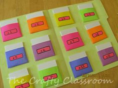 multiplication file folder - have each student make one and store flashcards in pockets. When they know that number they can turn them face down or sticker the pocket.